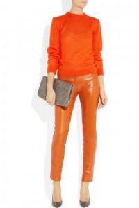 RICHARD NICOLL Orange Daniel Leather Skinny Pants